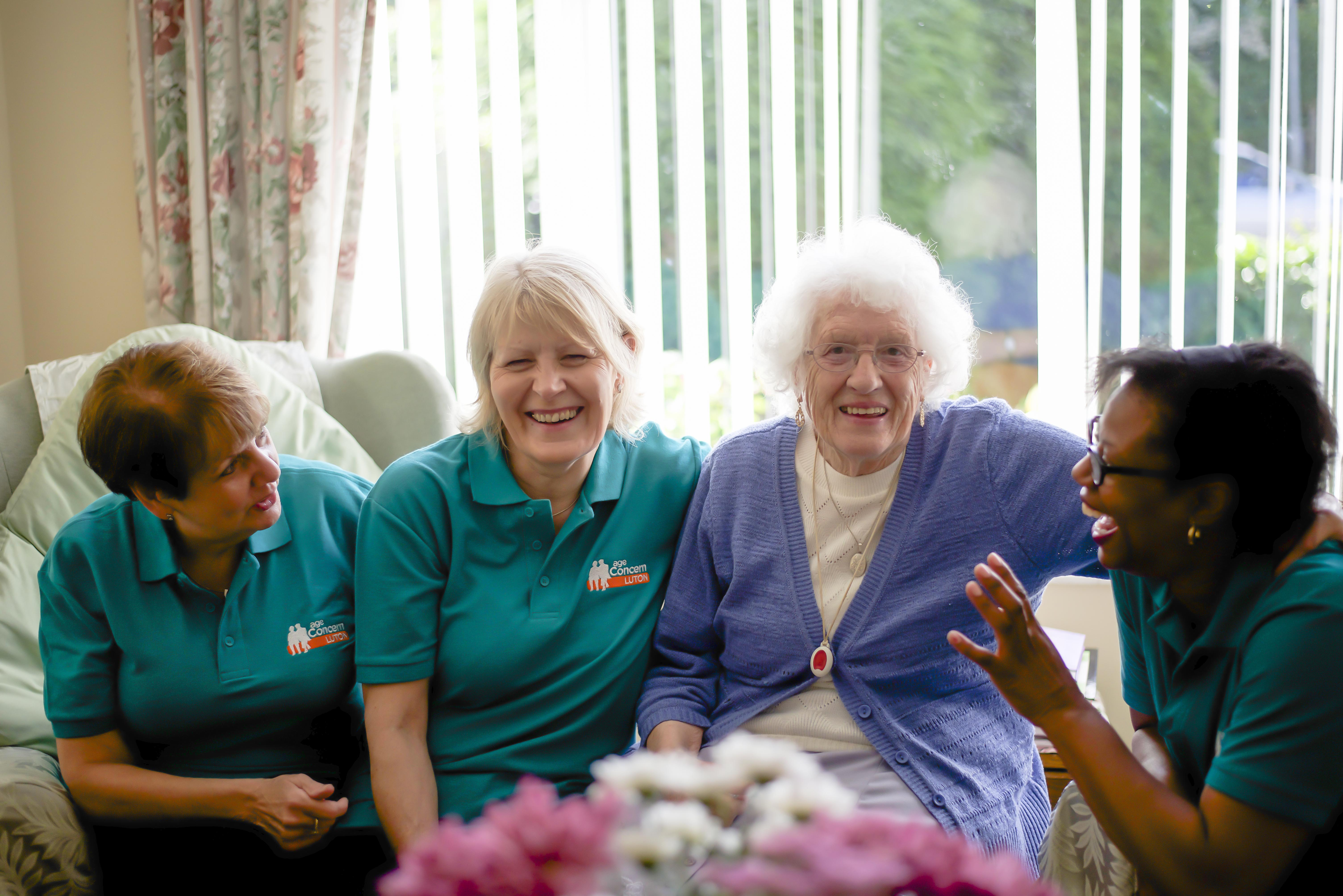 Our Home Support Workers helping an older lady